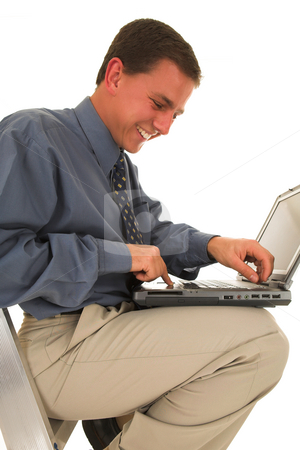 Businessman #39 stock photo, Man sitting on a ladder working on laptop. by Sean Nel