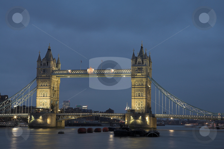 Tower Bridge #7 stock photo, The bascule Tower bridge in London, Night Scene over the Thames by Sean Nel