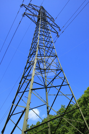 Pylon stock photo, High voltage pylon from Hungary from steel by ARPAD RADOCZY