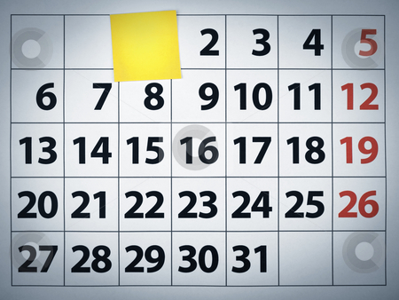 Blank sticky note on a calendar stock photo, Close up of a blank sticky note on a calendar post it on the 1st day. by Ignacio Gonzalez Prado