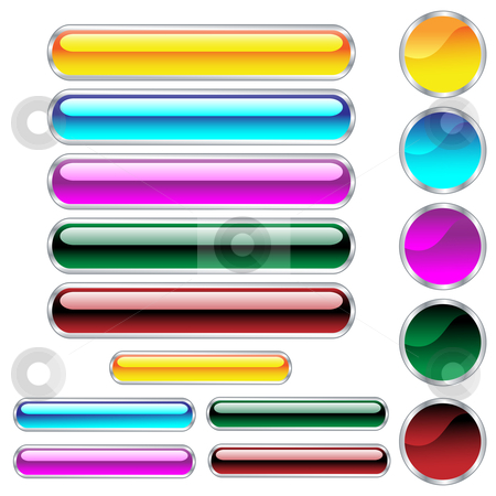 Web buttons glossy in assorted colors and shapes stock vector clipart, Web buttons, scaleable glossy rounded rectangles and circles in assorted colors. Isolated on white background by toots77