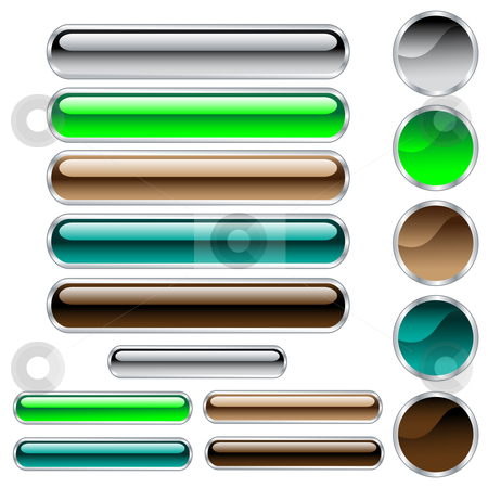 Web buttons shiny in assorted colors and shapes stock vector clipart, Web buttons, scaleable glossy rounded rectangles and circles in assorted colors. Isolated on white background by toots77