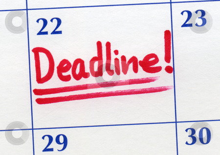 Deadline day written on a calendar. stock photo, Deadline day written on a calendar. by Stephen Rees