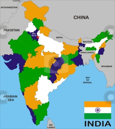 India map stock photo, India map with states and boundary and flag by Tudor Antonel adrian