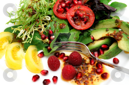 Exotic Salad stock photo, Salad on a white plate  with red roma and yellow heirloom tomatoes, avocado slices, spinach leaf, pomegranate seeds, Raspberries topped with Olive oil and Raspberry vinaigrette dressing by Lynn Bendickson