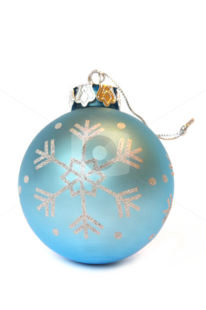 Blue Christmas ball stock photo, Blue Christmas ball with ornament of snowflake. Isolated on white by Olga Lipatova