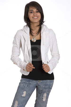 Teen with smile stock photo, Portrait of a teenager girl against white background with a great big smile by Yann Poirier
