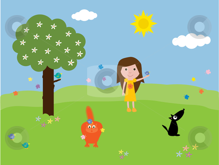 A fun day out at the park stock vector clipart, Humorous vector illustration of a girl and her pets at the park with birds and butterflies.  I have other files for children in my portfolio. by Rachel Gordon