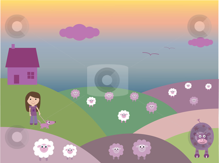 A walk in the fields stock vector clipart, Vector illustration of house, fields, sheep, a cow, and a girl taking her dog for a walk.  I have other files for children in my portfolio. by Rachel Gordon