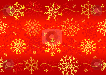 Seamless christmas red pattern  stock vector clipart, Seamless christmas red pattern with golden snowflakes (vector) by Olga Drozdova