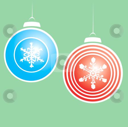 Snowflake Christmas Ornaments #2 stock vector clipart, Hanging christmas ornaments with a snowflake motif. by Jeffrey Thompson