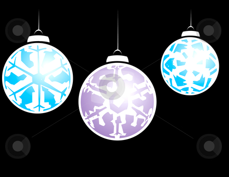 Three Snowflake Ornaments stock vector clipart, Hanging christmas ornaments with a snowflake motif. by Jeffrey Thompson