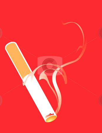Cigarette Smoking stock vector clipart, Lit and smoking Cigarette on a red background. by Jeffrey Thompson