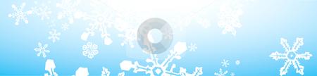 Snowstorm Banner stock vector clipart, Thin Banner of snowflakes falling on blue background. by Jeffrey Thompson