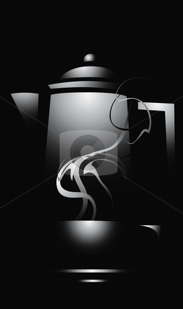 Dark Coffee stock vector clipart, Dark dramatic lit coffee cup and mug with eerie steam. by Jeffrey Thompson