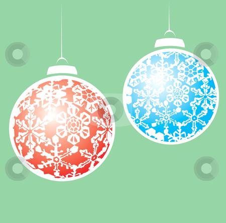 Snowstorm Christmas Ornaments  stock vector clipart, Hanging christmas ornaments with a snowflake motif. by Jeffrey Thompson
