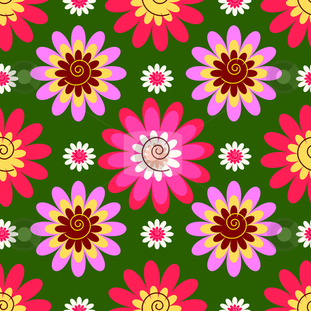 Abstract seamless floral background   stock vector clipart, Abstract decorative seamless floral green background  (vector) by Olga Drozdova