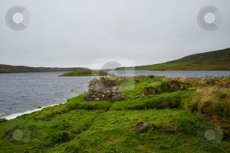 Eilean Mor Loch Finlaggan stock photo, Eilean Mor Loch Finlaggan, seat of the Lord of the Isles by Jaime Pharr