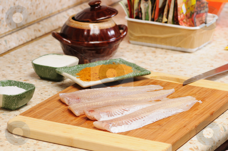 Meal preparation stock photo, Meal preparation on kitchen from a fish by Salauyou Yury