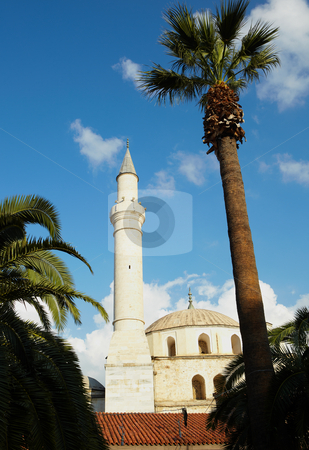 Kusadasi Mosque stock photo, Large traditionally styled turkish Mosque in Kusadasi, Aydin, Turkey, fronted by a Tall Palm tree against a clear blue sky by Sean Nel