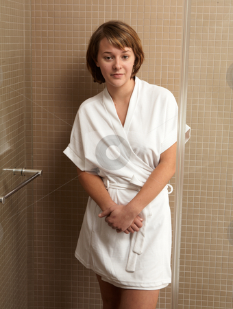 Woman in Robe stock photo, Young caucasian adult woman in a short white cotton robe by Sean Nel