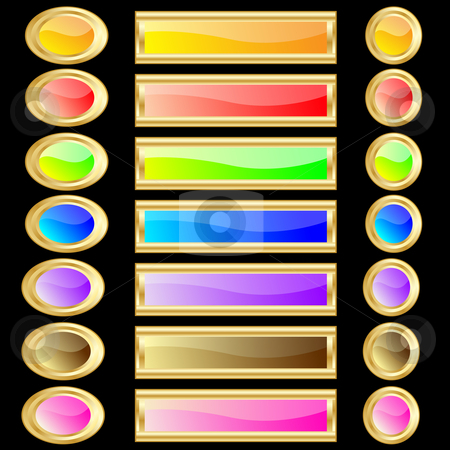Web buttons various colors with gold rims stock vector clipart, Web buttons various colors and shapes with gold rims. Isolated on black background by toots77