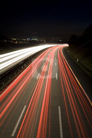 Freeway stock photo, Heavy traffic on the freeway at night, Bern, Switzerland, Europe by mdphot