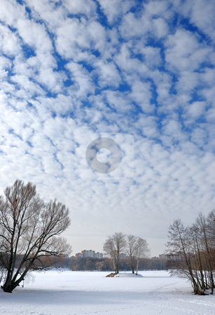 Clouds in the winter sky. stock photo, The winter sky with small frequent clouds over lake in a city. by Vladimir Blinov