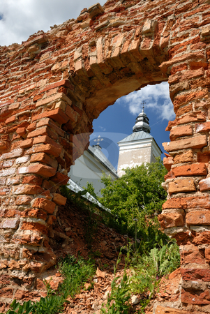 Old church stock photo, The old, partially destroyed church, kind on a dome through an aperture in a brick wall. by Vladimir Blinov