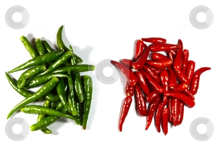 Heaps of red and green spicy peppers stock photo, Heaps of red and green spicy peppers isolated on white by Oleg Blazhyievskyi