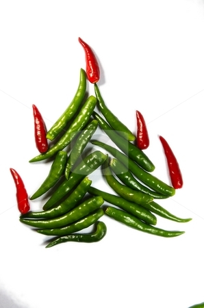 Chili New Year Tree stock photo, Spicy chili New Year Tree isolated on white by Oleg Blazhyievskyi