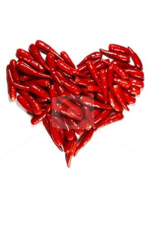 Spicy hart stock photo, Symbol of love -Spicy chili hart isolated on white by Oleg Blazhyievskyi