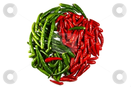 Spicy in-jan stock photo, Symbol. spicy chili in-jan isolated on white by Oleg Blazhyievskyi