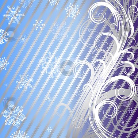 Striped christmas background (vector)  stock vector clipart, Striped christmas background with silvery curls and snowflakes (vector) by Olga Drozdova