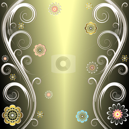 Floral silvery  background (vector) stock vector clipart, Abstract floral  elegant silvery decorative frame (vector) by Olga Drozdova