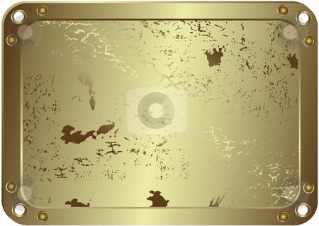 Grunge metallic silvery frame (vector) stock vector clipart, Grunge metallic silvery frame with round apertures on edges (vector) by Olga Drozdova