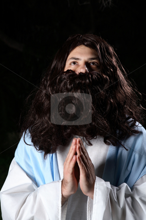 Heavenly Prayers stock photo, Biblical man or prophet in prayer and looking heavenward. by Leah-Anne Thompson