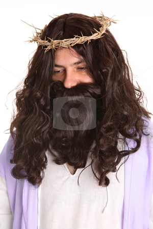 Jesus wearing crown of thorns stock photo, Jesus wearing crown of thorns by Leah-Anne Thompson