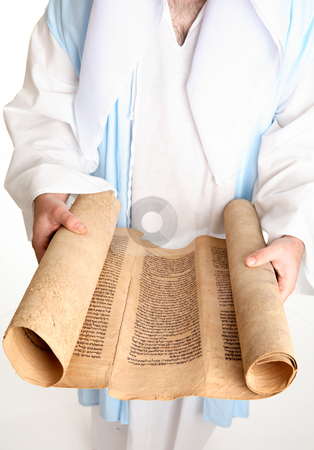 Bible scroll on gevil parchment stock photo, Bible scroll on gevil parchment by Leah-Anne Thompson