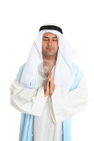 Biblical man in praying stock photo, Biblical or middle eastern man in silent prayer by Leah-Anne Thompson
