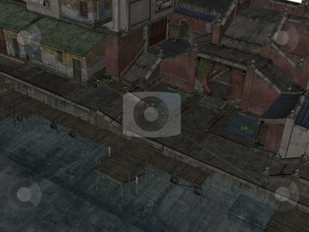 Streets of Chine stock photo, 3D rendered image of ancient street of China by Patrik Ruzic