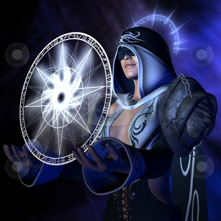 Conjuring wizard stock photo, 3D rendered image of conjuring wizard conjure spell by Patrik Ruzic