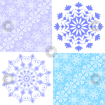 Set christmas seamless pastel pattern  stock vector clipart, Set christmas seamless pastel pattern and snowflakes (vector) by Olga Drozdova