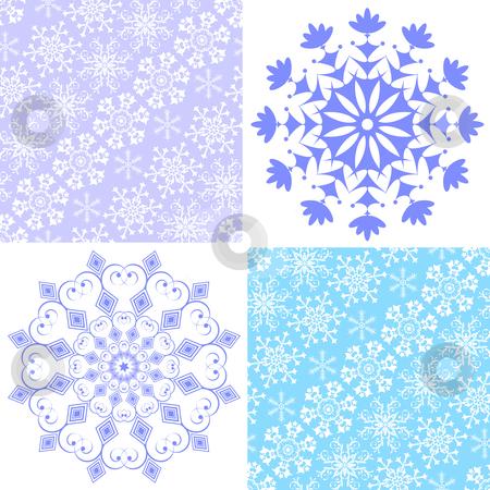 Set christmas seamless pastel pattern  stock vector clipart, Set christmas seamless pastel pattern and snowflakes (vector) by Olga Drozdova