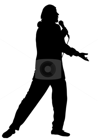 The musician and the singer acts at a concert.  stock vector clipart, The musician and the singer acts at a concert. Vector by Olga Drozdova