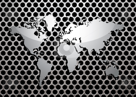 Metal grill world stock vector clipart, Silver metal grill background with brushed world map by Michael Travers
