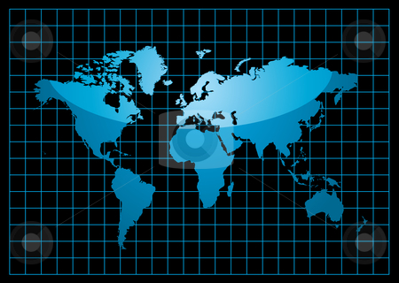 Grid world black stock vector clipart, Blue world map with light reflection and grid on a black background by Michael Travers