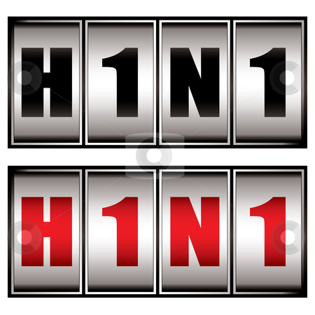 H1n1 dial stock vector clipart, Warning dial for the h1n1 virus in both red and black by Michael Travers
