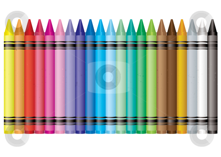 Rainbow crayon stock vector clipart, Collection of crayons in the colours of the rainbow by Michael Travers