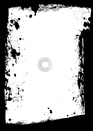 Black grunge border splat stock vector clipart, Black ink border with white copy space center by Michael Travers